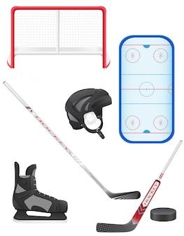 Zestaw ilustracji wektorowych sprzętu hokejowego