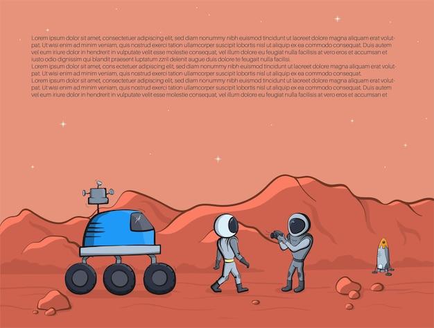 Zestaw ilustracji wektorowych statku kosmicznego, rakiety, łazika. doodle kreskówka wektor ikony.