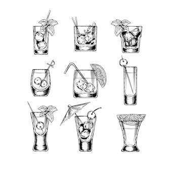 Zestaw ilustracji wektorowych stemware