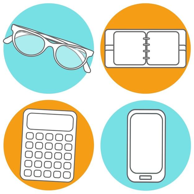 Zestaw ilustracji wektorowych streszczenie koncepcja kreatywnych nowoczesny telefon komórkowy, kalkulator, notatnik, okulary przeciwsłoneczne. ikony linii. piktogram płaska konstrukcja.
