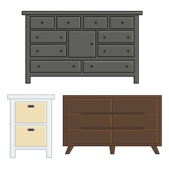 Zestaw ilustracji wektorowych szuflady i szafki do stylu wnętrza gospodarstwa domowego płaska konstrukcja