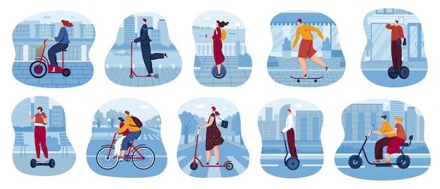 Zestaw ilustracji wektorowych transportu ekologicznego miasta.