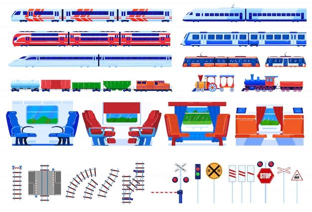 Zestaw ilustracji wektorowych transportu kolejowego pociągu.