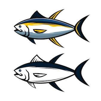 Zestaw ilustracji wektorowych tuńczyka żółtopłetwego
