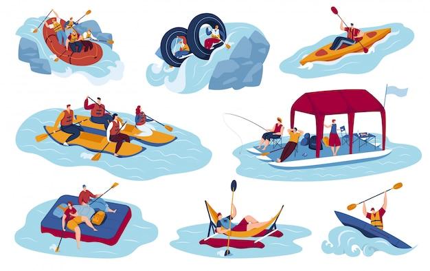 Zestaw ilustracji wektorowych turystyki sportów wodnych