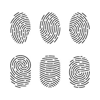 Zestaw ilustracji wektorowych uwierzytelniania odcisków palców. tożsamość palca, ilustracja biometryczna technologii. kolekcja szablonów linii papilarnych.