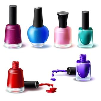 Zestaw ilustracji wektorowych w realistycznym stylu czyste butelki z paznokci w różnych kolorach