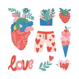 Zestaw ilustracji wektorowych walentynki modna paleta kolorów i słodkie romantyczne elementy d