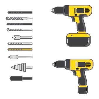 Zestaw ilustracji wektorowych wiertarko-wkrętarka akumulatorowa z kompletnym płaskim kawałkiem. wyposażenie narzędzi ręcznych w płaskiej konstrukcji