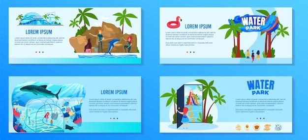 Zestaw ilustracji wektorowych wodny park rozrywki, kolekcja banerów parku rozrywki z kreskówkową płaską rozrywką z atrakcjami wodnymi