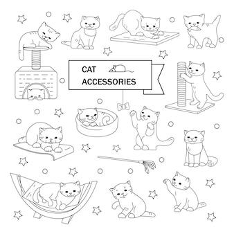 Zestaw ilustracji wektorowych zarys. koty i akcesoria. zabawki, łóżka, drapaki.