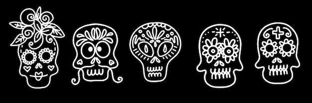 Zestaw ilustracji wektorowych zdobionych czaszek