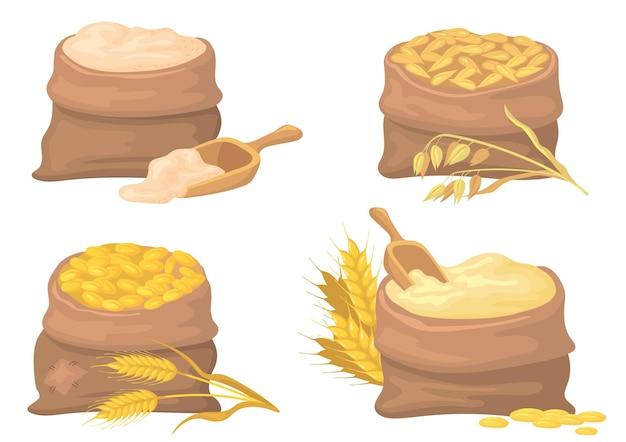 Zestaw ilustracji worków z pszenicą, żyto i mąką