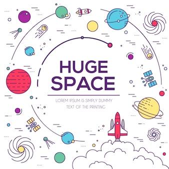 Zestaw ilustracji wszechświata ogromnej przestrzeni. plansza przestrzeni. ikona przestrzeni.