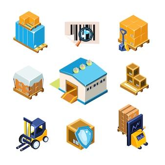Zestaw ilustracji wyposażenia magazynu i logistyki