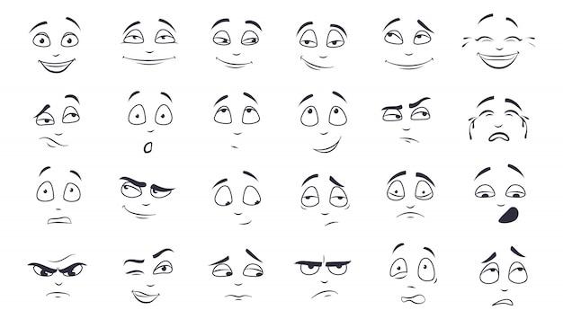 Zestaw ilustracji wyraz twarzy