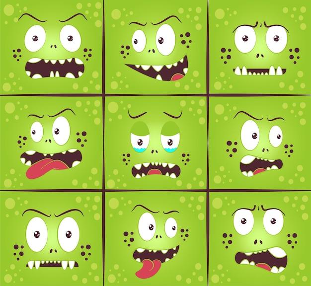 Zestaw ilustracji wyrazu twarzy potwora ładny