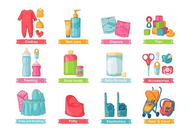 Zestaw ilustracji z akcesoriami dla noworodka