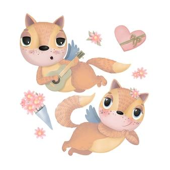Zestaw ilustracji z kreskówkowymi kotami i kwiatami