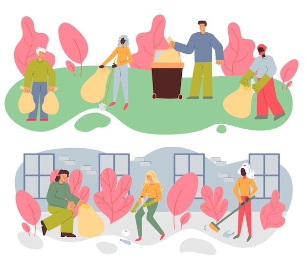 Zestaw ilustracji z ludźmi sprzątającymi ulicę i park