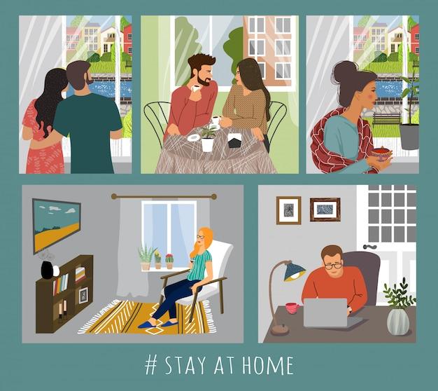 Zestaw ilustracji z ludźmi w domu we wnętrzu.