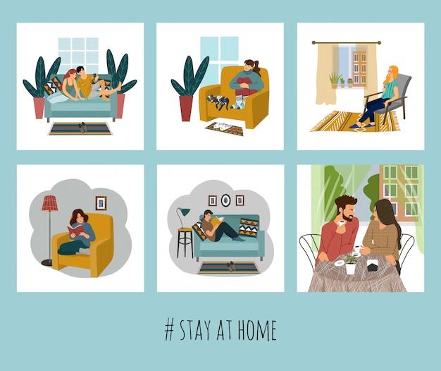 Zestaw ilustracji z ludźmi w domu.