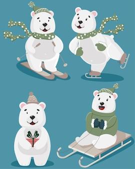 Zestaw ilustracji z niedźwiedziami jeden jedzie na nartach drugi jedzie na saniach trzeci jeździ na łyżwach czwarty ma prezent w łapach