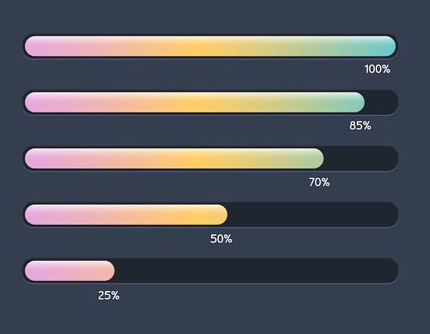 Zestaw ilustracji z nowoczesnym kolorowym poziomym paskiem postępu ładowania i buforowania diagramu procentowego