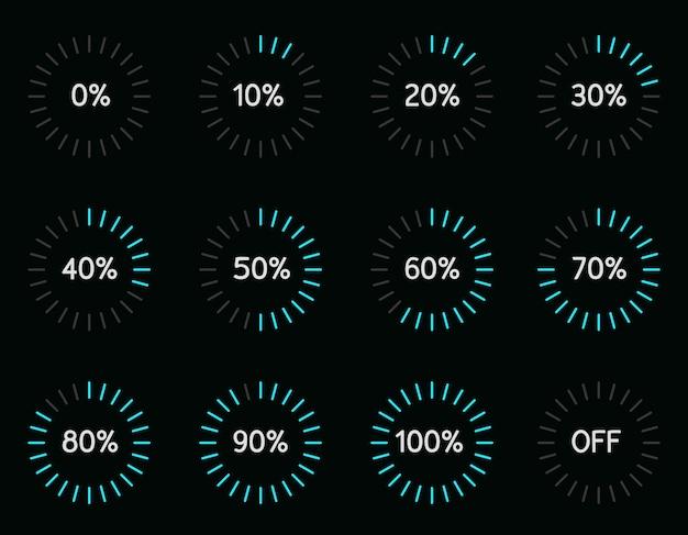 Zestaw ilustracji z postępem pobierania wskaźnika nowoczesnego koła niebieskiego koloru