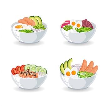 Zestaw ilustracji z różnymi rodzajami poke bowl na białym