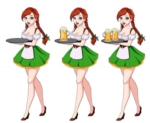 Zestaw ilustracji z seksowną kelnerką z rudymi włosami w zielonej tradycyjnej sukience