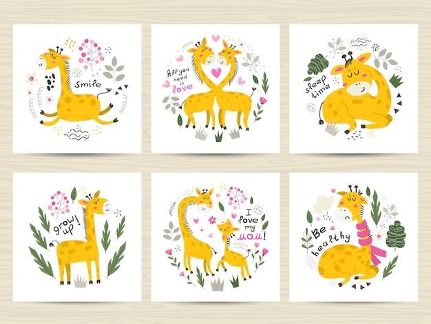 Zestaw ilustracji z słodkie żyrafy.