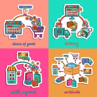 Zestaw ilustracji zakupów online