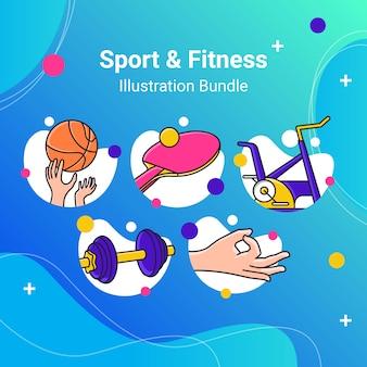 Zestaw ilustracji zarys sport fitness