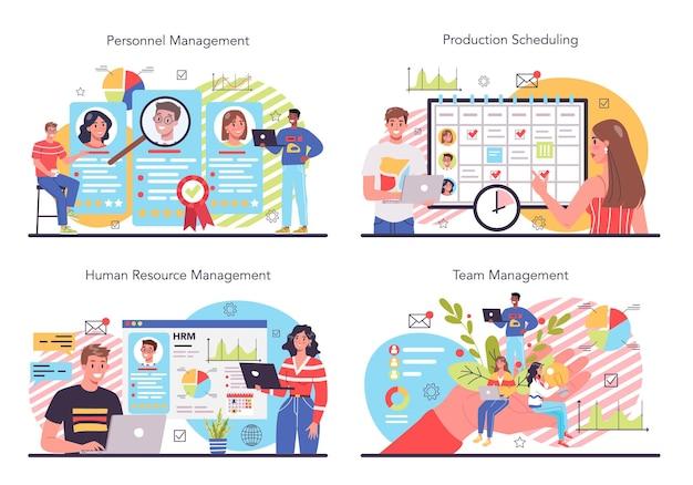 Zestaw ilustracji zarządzania personelem