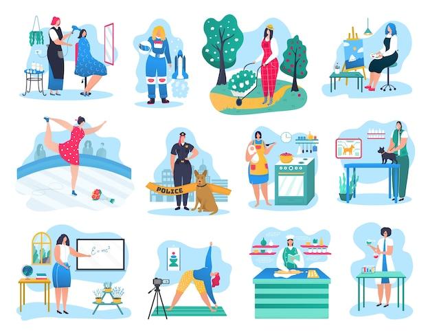 Zestaw ilustracji zawodów kobieta. policjant, lekarz, elektryk lub kwiaciarnia, pilot, biznesmen. inżynier, zawodowy kucharz, malarz. kobiety wyznające zawody postaci kobiecych