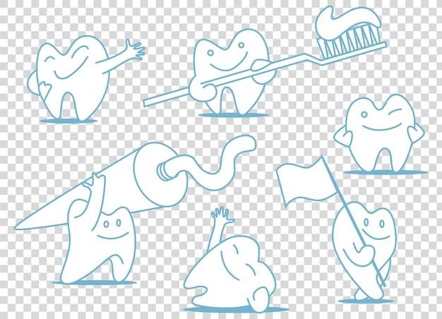 Zestaw ilustracji zębów