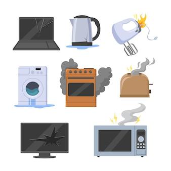 Zestaw ilustracji zepsutych urządzeń elektrycznych