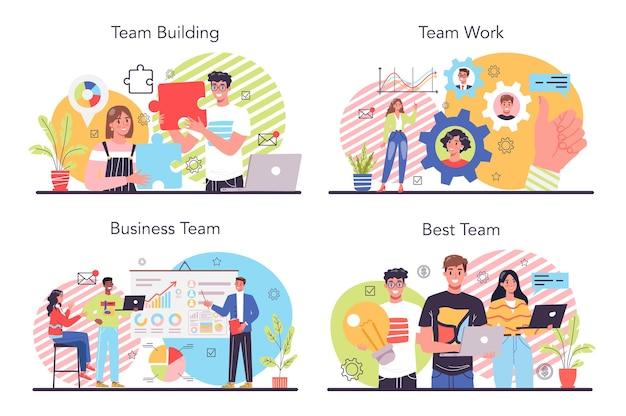 Zestaw ilustracji zespołu biznes