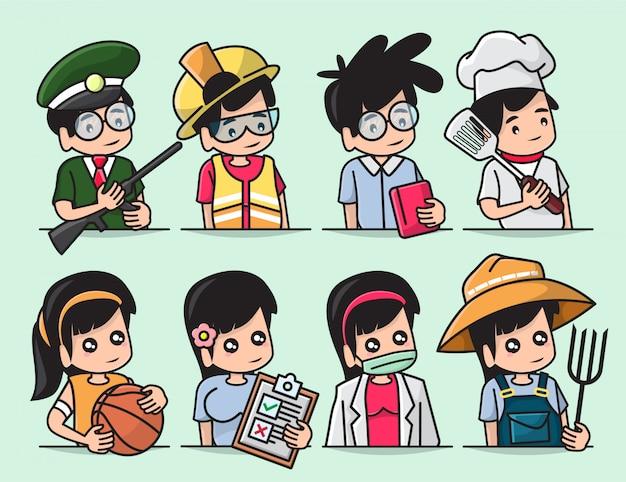 Zestaw ilustracji zestaw uroczych chłopców i dziewcząt o różnych zawodach