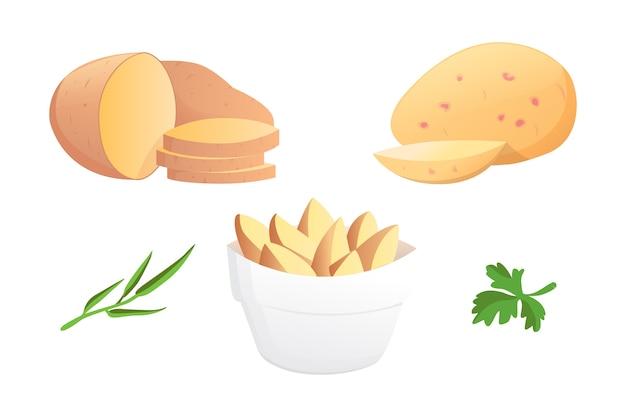 Zestaw ilustracji ziemniaki