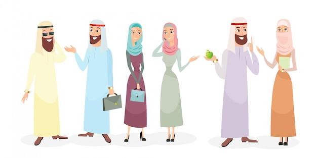 Zestaw ilustracji znaków arabskich ludzi biznesu w różnych pozach.