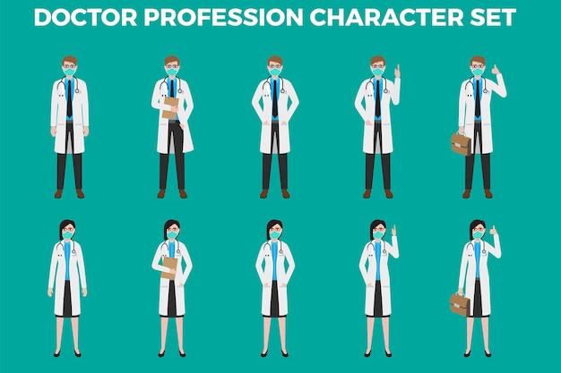 Zestaw ilustracji znaków docter