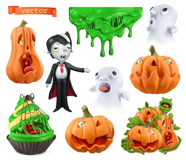 Zestaw ilustracji znaków halloween