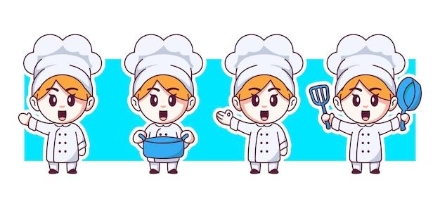Zestaw ilustracji znaków ładny szef kuchni.