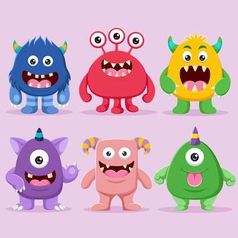 Zestaw ilustracji znaków słodkie potwory