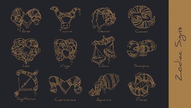 Zestaw ilustracji znaków zodiaku w stylu boho. baran, byk, bliźnięta, rak, lew, panna, waga, skorpion, strzelec, koziorożec, wodnik, ryby.