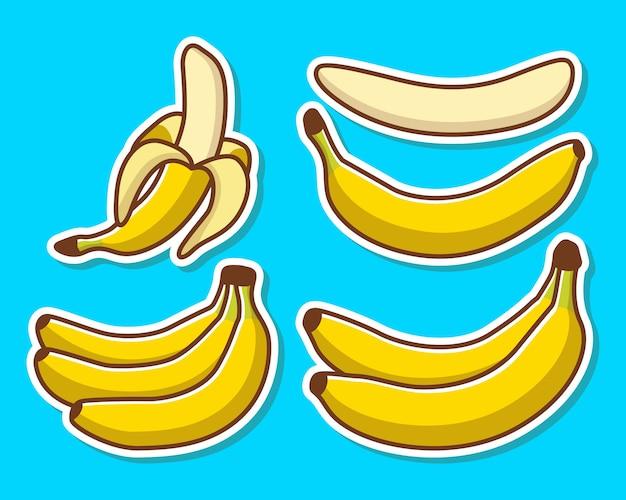 Zestaw ilustracji żółtych bananów