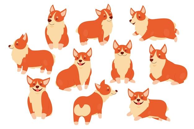 Zestaw ilustracji zwierzaka szczęśliwy pies corgi