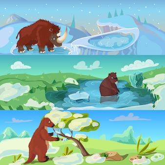 Zestaw ilustracji zwierząt epoki lodowcowej